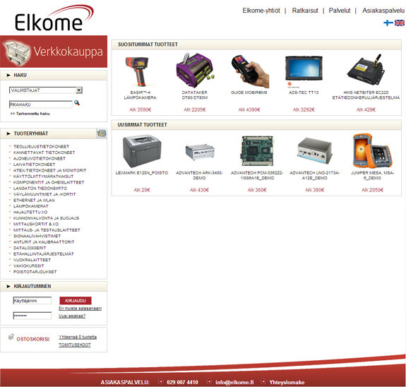 Elkome website design