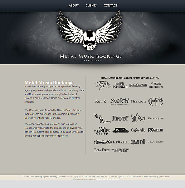 Metal Music Bookings website