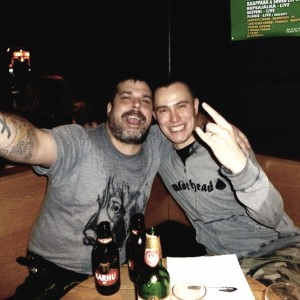 Pete Alander from Bandmill with Mark Bone Boland from The Real McKenzies