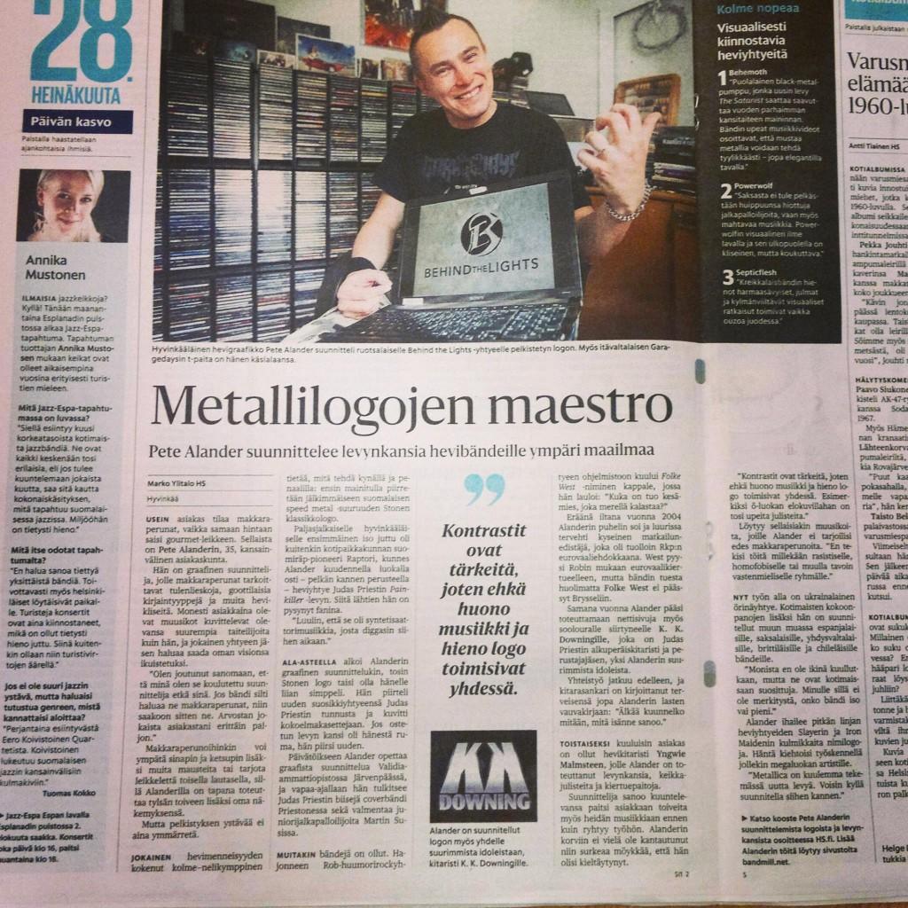 Pete Alander in Helsingin Sanomat newspaper
